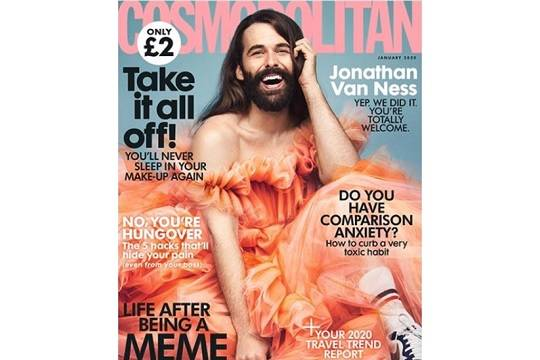 Для обложки январского номера британского Cosmopolitan снялся мужчина