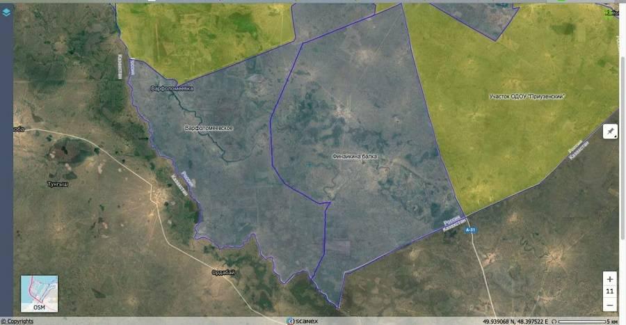 Это графические границы угодий, на карте если увеличить будут видны обозначения населенных пунктов Байгужа  и Букин (остальные не пишет, потому что это хутора). Из сметной дкументации следует, что водопровод идет через следующие нас.пункты: Вишневка, Байгужа,Белоусов, Букин далее до т. Мендегали-Кудук (Затон)