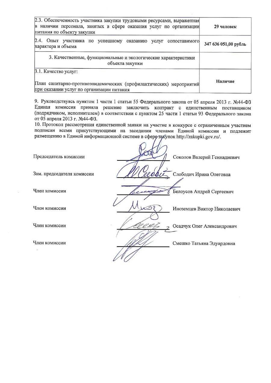 Протокол рассмотрения единственной заявки