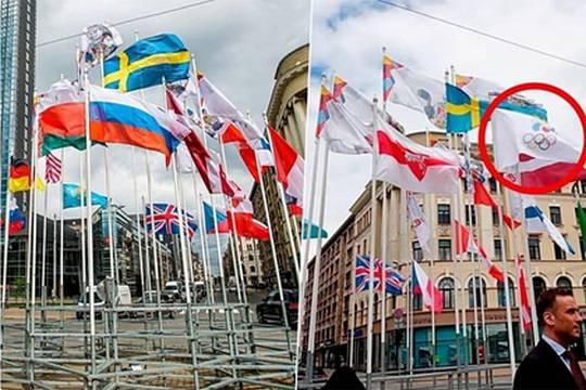 В центре Риги на ЧМ по хоккею заменили флаги России и Беларуси