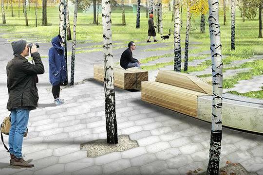Впарке «Зарядье» начали благоустройство пешеходного пространства